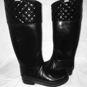Hunter Womens Boots Black Mid Calf Rain 8